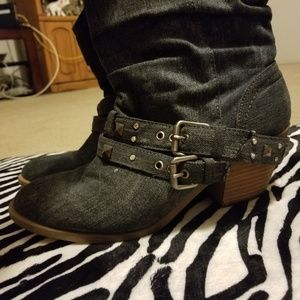 CUTE denim studded block heel boots